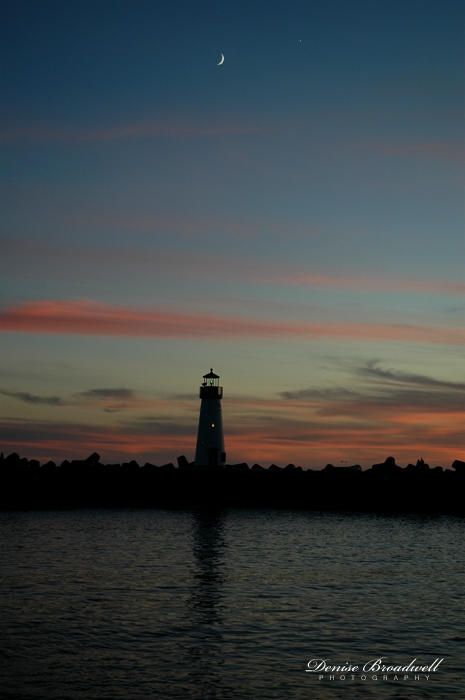 Santa Cruz Harbor Lighthouse at Night